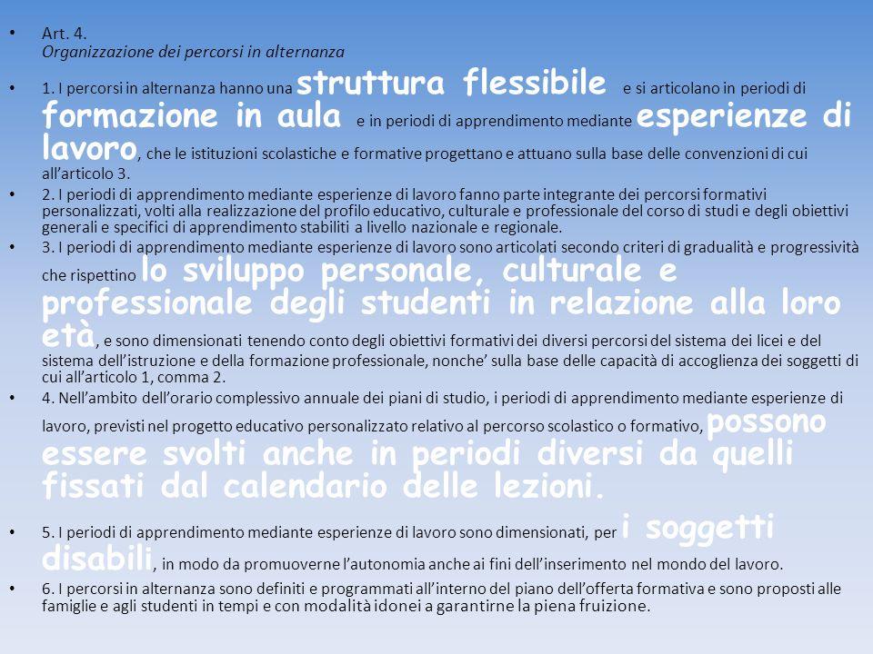 Art. 4. Organizzazione dei percorsi in alternanza 1. I percorsi in alternanza hanno una struttura flessibile e si articolano in periodi di formazione