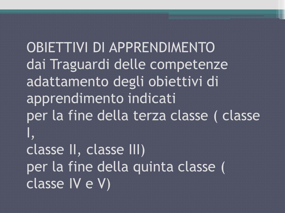 OBIETTIVI DI APPRENDIMENTO dai Traguardi delle competenze adattamento degli obiettivi di apprendimento indicati per la fine della terza classe ( class