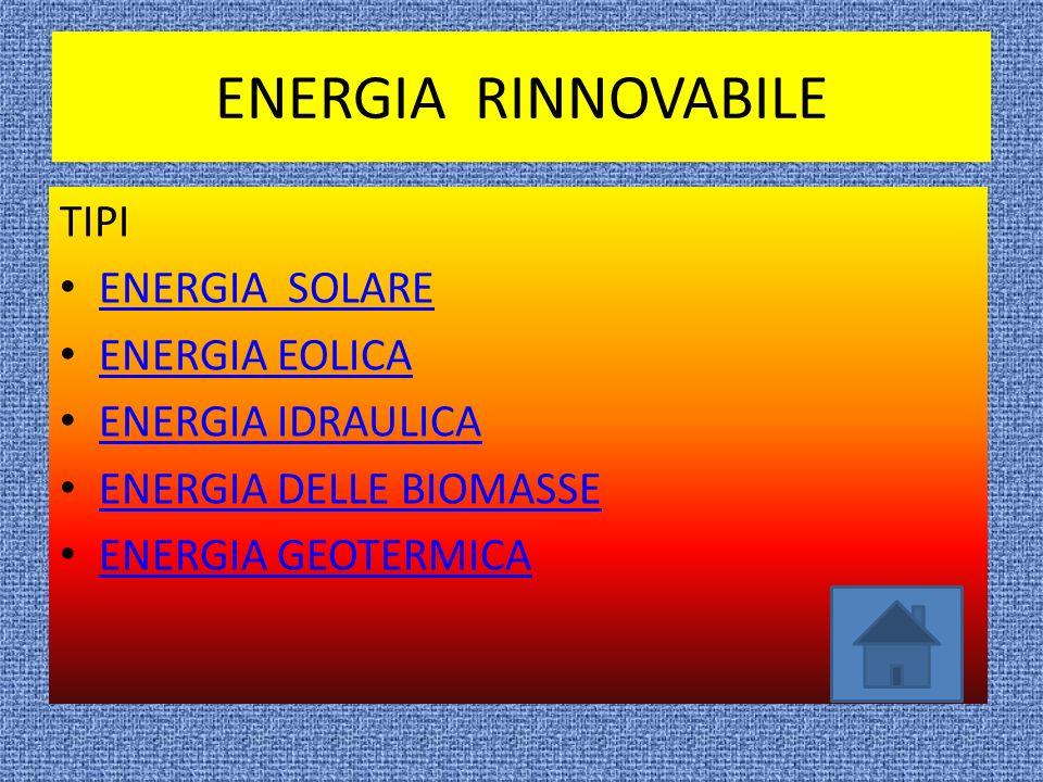 TIPI DI ENERGIA ENERGIA RINNOVABILE ENERGIA NON RINNOVABILE FINE