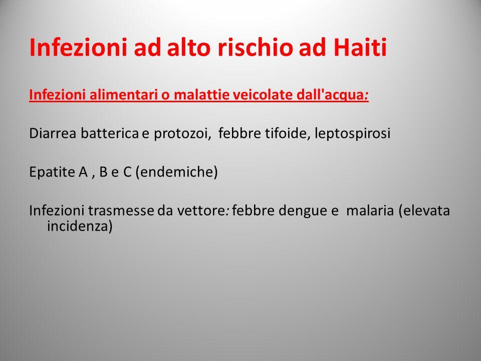 Infezioni ad alto rischio ad Haiti Infezioni alimentari o malattie veicolate dall'acqua: Diarrea batterica e protozoi, febbre tifoide, leptospirosi Ep
