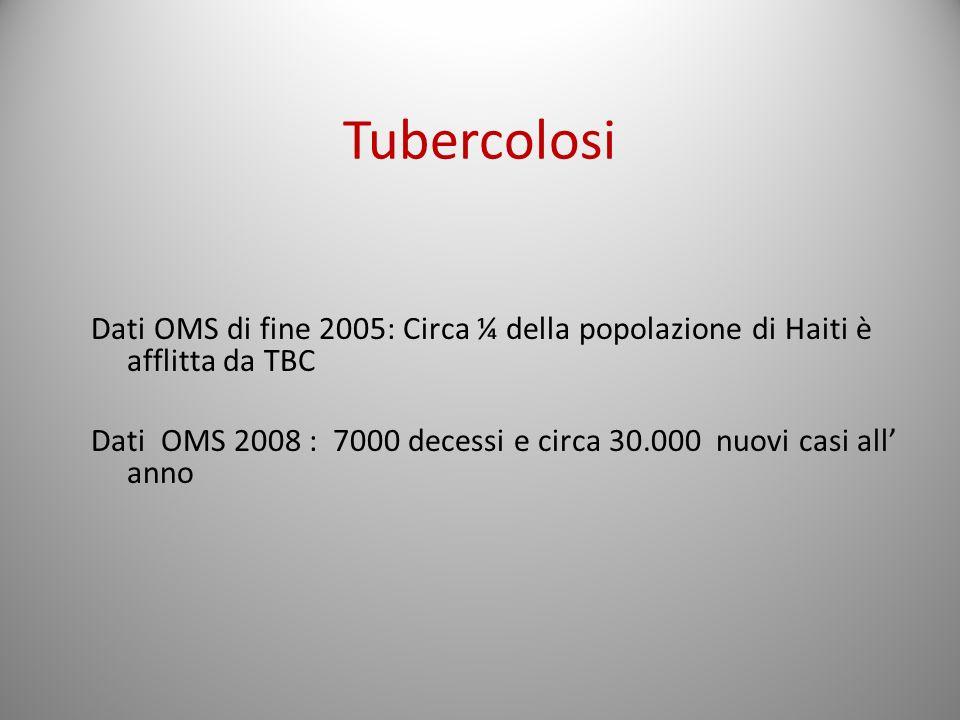 Tubercolosi Dati OMS di fine 2005: Circa ¼ della popolazione di Haiti è afflitta da TBC Dati OMS 2008 : 7000 decessi e circa 30.000 nuovi casi all ann