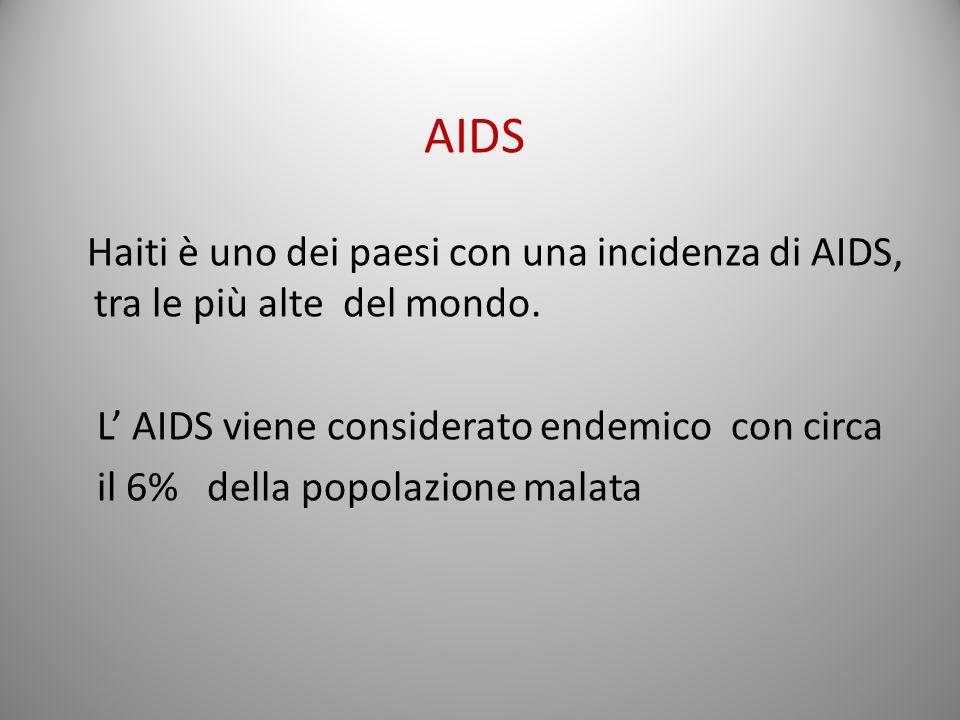 Haiti è uno dei paesi con una incidenza di AIDS, tra le più alte del mondo. L AIDS viene considerato endemico con circa il 6% della popolazione malata