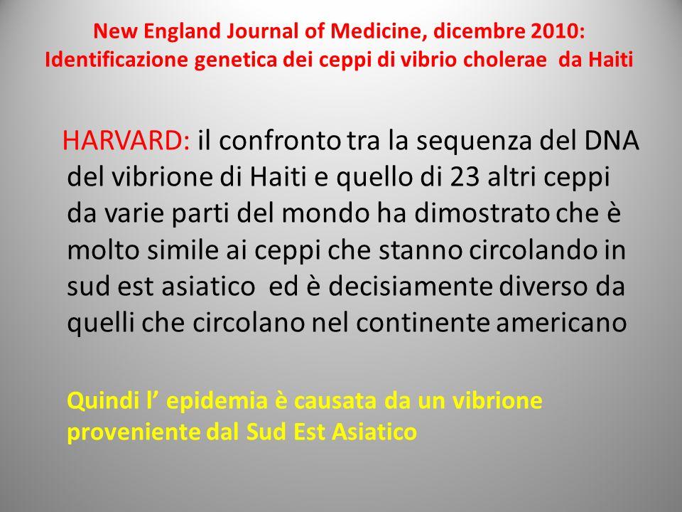 New England Journal of Medicine, dicembre 2010: Identificazione genetica dei ceppi di vibrio cholerae da Haiti HARVARD: il confronto tra la sequenza d