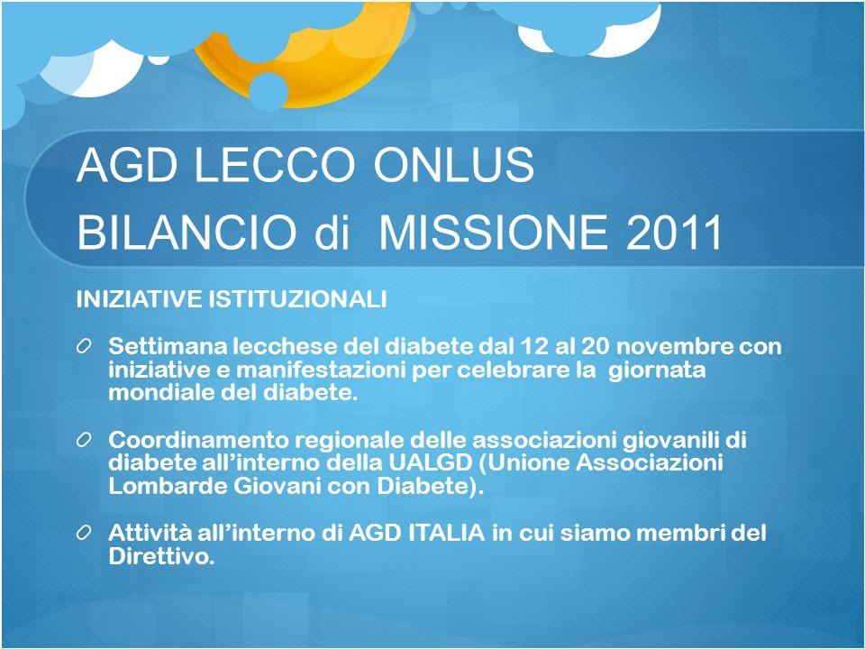 AGD LECCO ONLUS BILANCIO di MISSIONE 2011 INIZIATIVE ISTITUZIONALI Settimana lecchese del diabete dal 12 al 20 novembre con iniziative e manifestazion