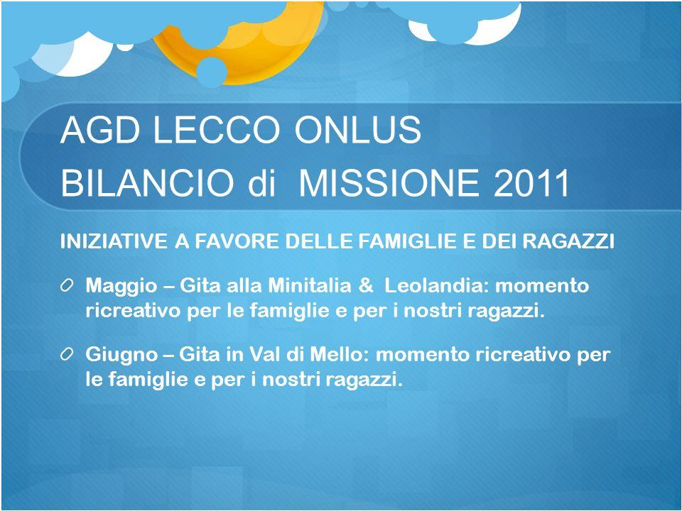 AGD LECCO ONLUS BILANCIO di MISSIONE 2011 INIZIATIVE A FAVORE DELLE FAMIGLIE E DEI RAGAZZI Maggio – Gita alla Minitalia & Leolandia: momento ricreativ