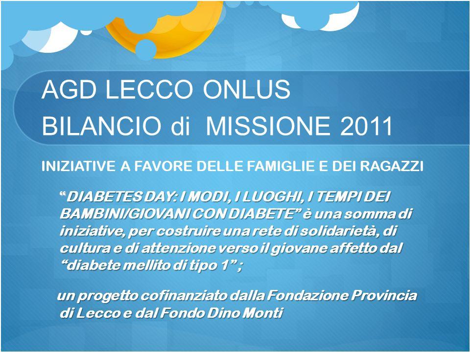 AGD LECCO ONLUS BILANCIO di MISSIONE 2011 INIZIATIVE A FAVORE DELLE FAMIGLIE E DEI RAGAZZI DIABETES DAY: I MODI, I LUOGHI, I TEMPI DEI BAMBINI/GIOVANI