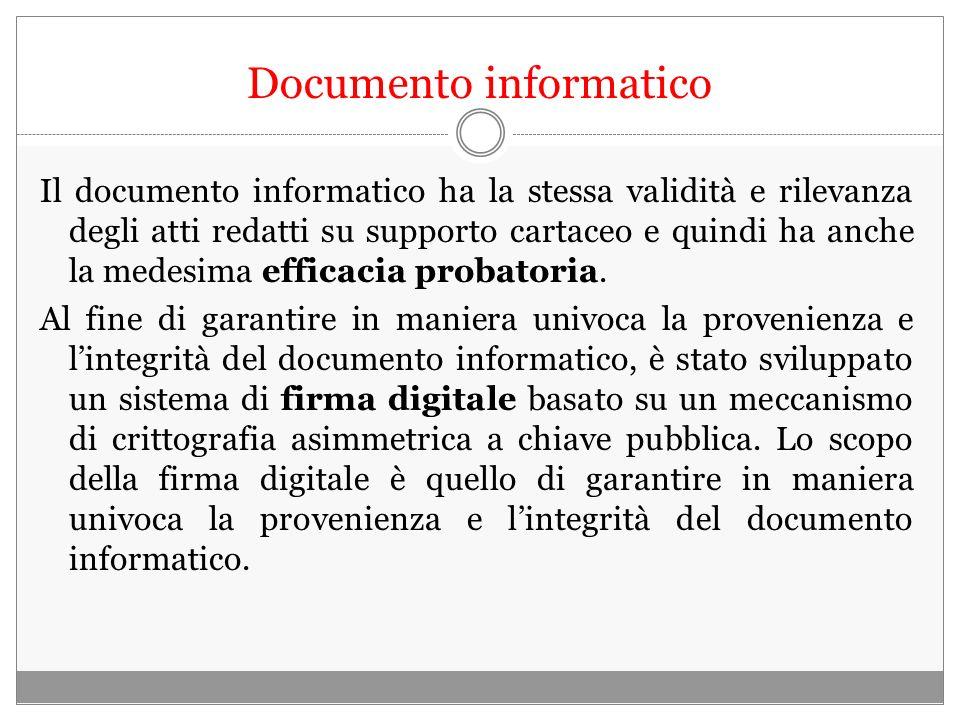 Documento informatico Il documento informatico ha la stessa validità e rilevanza degli atti redatti su supporto cartaceo e quindi ha anche la medesima