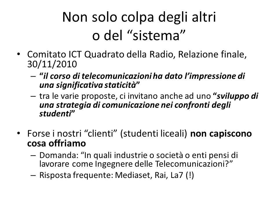 Non solo colpa degli altri o del sistema Comitato ICT Quadrato della Radio, Relazione finale, 30/11/2010 –il corso di telecomunicazioni ha dato limpre