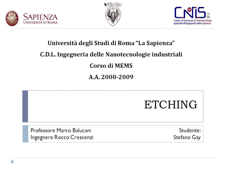 Wet Etching Caratteristiche generali Pulitura Wafer RCA Piranha Etch isotropo HNA H 3 PO 4 Etch anisotropo KOH EDP TMAH Anodic etching of p-type silicon Geometrie di etch anisotropo Altri metalli Caso reale - Etching Microfono Mems Wet etching