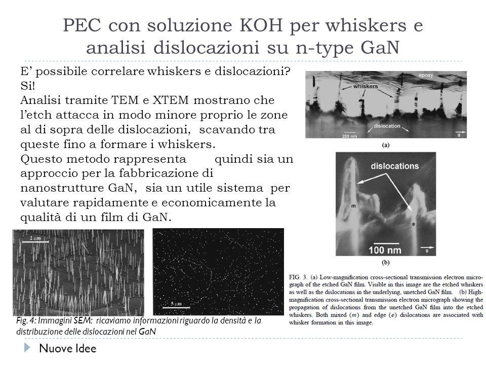 PEC con soluzione KOH per whiskers e analisi dislocazioni su n-type GaN E possibile correlare whiskers e dislocazioni.