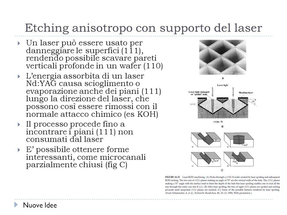 Etching anisotropo con supporto del laser Un laser può essere usato per danneggiare le superfici (111), rendendo possibile scavare pareti verticali profonde in un wafer (110) Lenergia assorbita di un laser Nd:YAG causa scioglimento o evaporazione anche dei piani (111) lungo la direzione del laser, che possono così essere rimossi con il normale attacco chimico (es KOH) Il processo procede fino a incontrare i piani (111) non consumati dal laser E possibile ottenere forme interessanti, come microcanali parzialmente chiusi (fig C) Nuove Idee