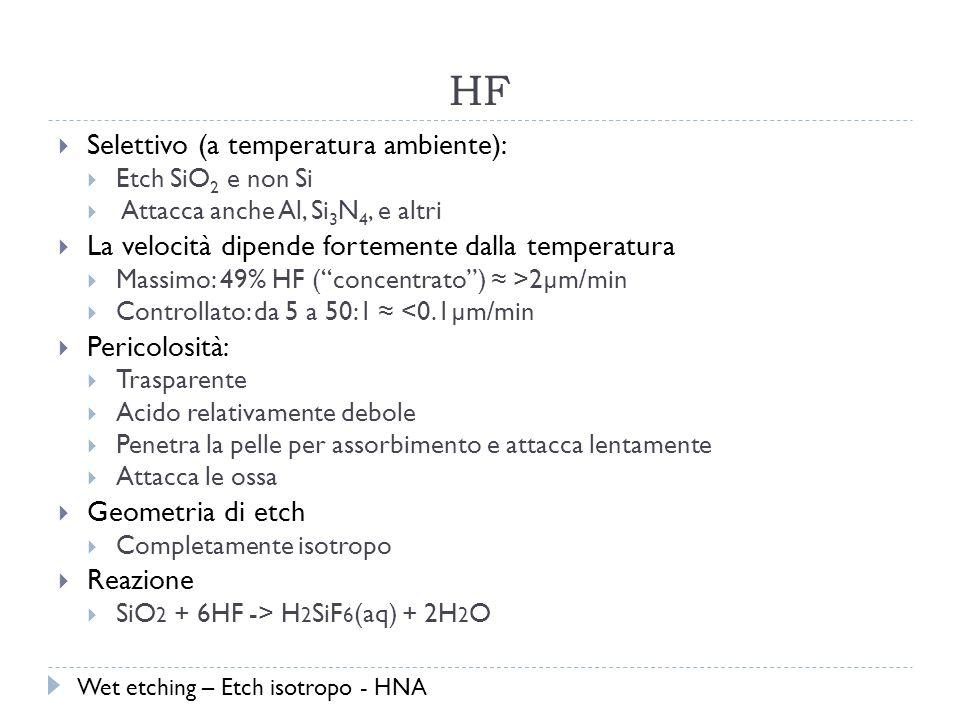 HF Selettivo (a temperatura ambiente): Etch SiO 2 e non Si Attacca anche Al, Si 3 N 4, e altri La velocità dipende fortemente dalla temperatura Massimo: 49% HF (concentrato) >2µm/min Controllato: da 5 a 50:1 <0.1µm/min Pericolosità: Trasparente Acido relativamente debole Penetra la pelle per assorbimento e attacca lentamente Attacca le ossa Geometria di etch Completamente isotropo Reazione SiO 2 + 6HF -> H 2 SiF 6 (aq) + 2H 2 O Wet etching – Etch isotropo - HNA