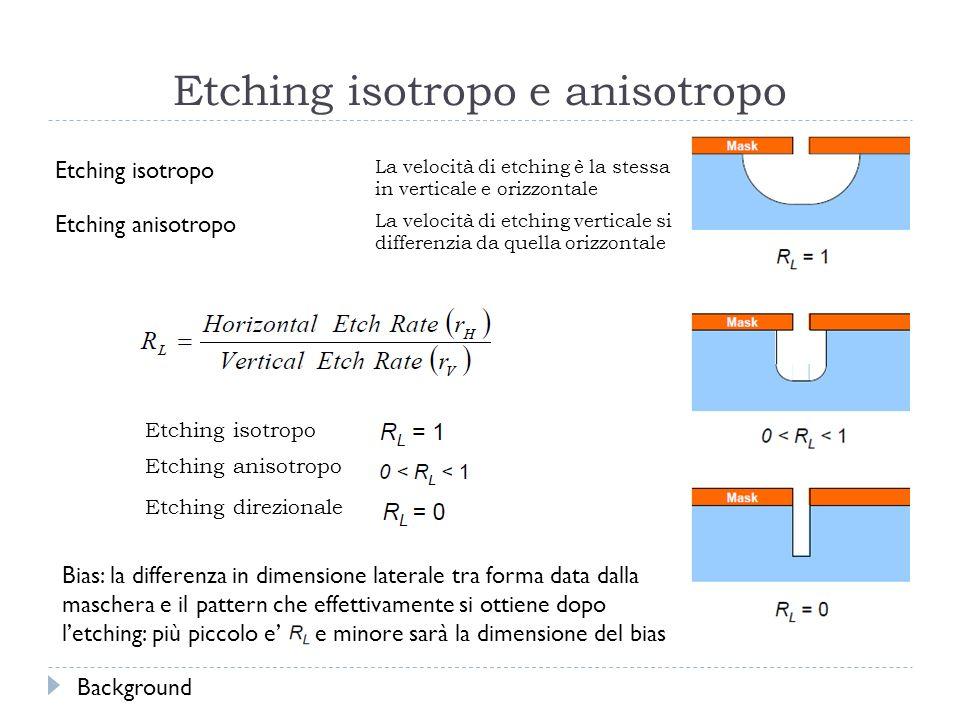 Etching isotropo e anisotropo Etching isotropo La velocità di etching è la stessa in verticale e orizzontale Etching anisotropo La velocità di etching verticale si differenzia da quella orizzontale Etching isotropo Etching anisotropo Etching direzionale Bias: la differenza in dimensione laterale tra forma data dalla maschera e il pattern che effettivamente si ottiene dopo letching: più piccolo e e minore sarà la dimensione del bias Background