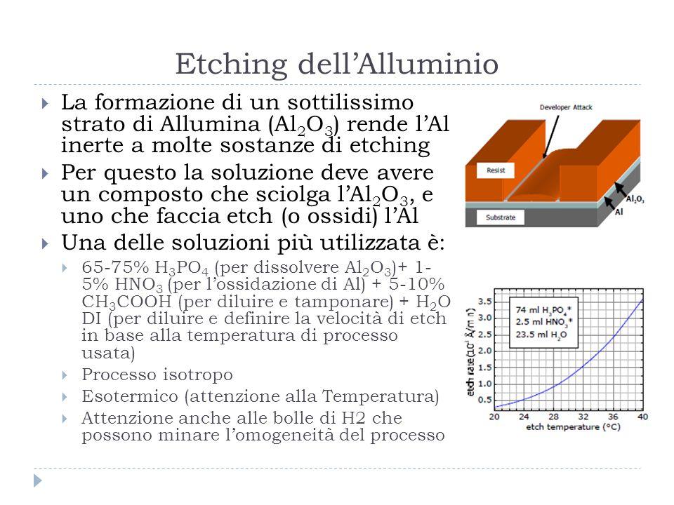 Etching dellAlluminio La formazione di un sottilissimo strato di Allumina (Al 2 O 3 ) rende lAl inerte a molte sostanze di etching Per questo la soluzione deve avere un composto che sciolga lAl 2 O 3, e uno che faccia etch (o ossidi) lAl Una delle soluzioni più utilizzata è: 65-75% H 3 PO 4 (per dissolvere Al 2 O 3 )+ 1- 5% HNO 3 (per lossidazione di Al) + 5-10% CH 3 COOH (per diluire e tamponare) + H 2 O DI (per diluire e definire la velocità di etch in base alla temperatura di processo usata) Processo isotropo Esotermico (attenzione alla Temperatura) Attenzione anche alle bolle di H2 che possono minare lomogeneità del processo
