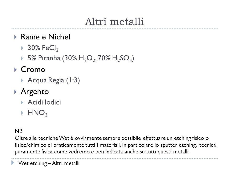 Altri metalli Rame e Nichel 30% FeCl 3 5% Piranha (30% H 2 O 2, 70% H 2 SO 4 ) Cromo Acqua Regia (1:3) Argento Acidi Iodici HNO 3 NB Oltre alle tecniche Wet è ovviamente sempre possibile effettuare un etching fisico o fisico/chimico di praticamente tutti i materiali.