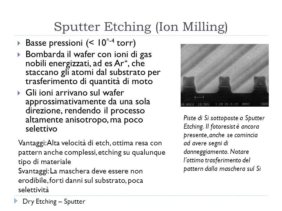 Sputter Etching (Ion Milling) Basse pressioni (< 10 ^-4 torr) Bombarda il wafer con ioni di gas nobili energizzati, ad es Ar +, che staccano gli atomi dal substrato per trasferimento di quantità di moto Gli ioni arrivano sul wafer approssimativamente da una sola direzione, rendendo il processo altamente anisotropo, ma poco selettivo Vantaggi: Alta velocità di etch, ottima resa con pattern anche complessi, etching su qualunque tipo di materiale Svantaggi: La maschera deve essere non erodibile, forti danni sul substrato, poca selettività Piste di Si sottoposte a Sputter Etching.