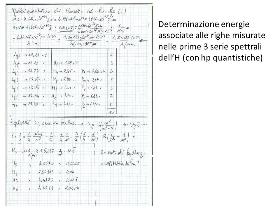 Determinazione energie associate alle righe misurate nelle prime 3 serie spettrali dellH (con hp quantistiche)