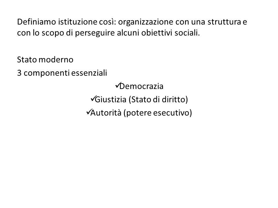 Definiamo istituzione così: organizzazione con una struttura e con lo scopo di perseguire alcuni obiettivi sociali.