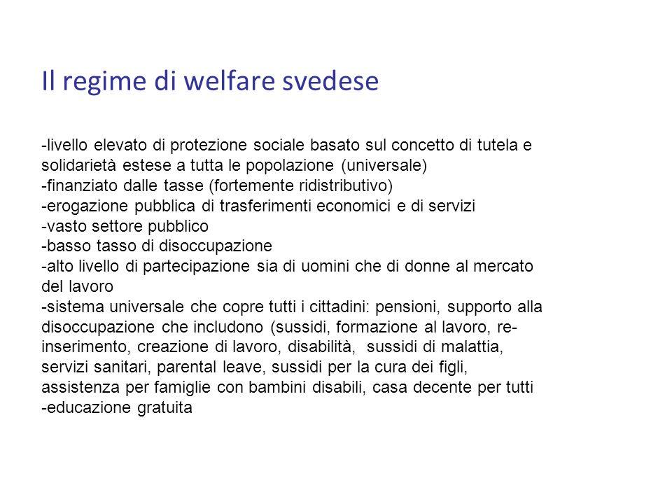 Il regime di welfare svedese -livello elevato di protezione sociale basato sul concetto di tutela e solidarietà estese a tutta le popolazione (universale) -finanziato dalle tasse (fortemente ridistributivo) -erogazione pubblica di trasferimenti economici e di servizi -vasto settore pubblico -basso tasso di disoccupazione -alto livello di partecipazione sia di uomini che di donne al mercato del lavoro -sistema universale che copre tutti i cittadini: pensioni, supporto alla disoccupazione che includono (sussidi, formazione al lavoro, re- inserimento, creazione di lavoro, disabilità, sussidi di malattia, servizi sanitari, parental leave, sussidi per la cura dei figli, assistenza per famiglie con bambini disabili, casa decente per tutti -educazione gratuita
