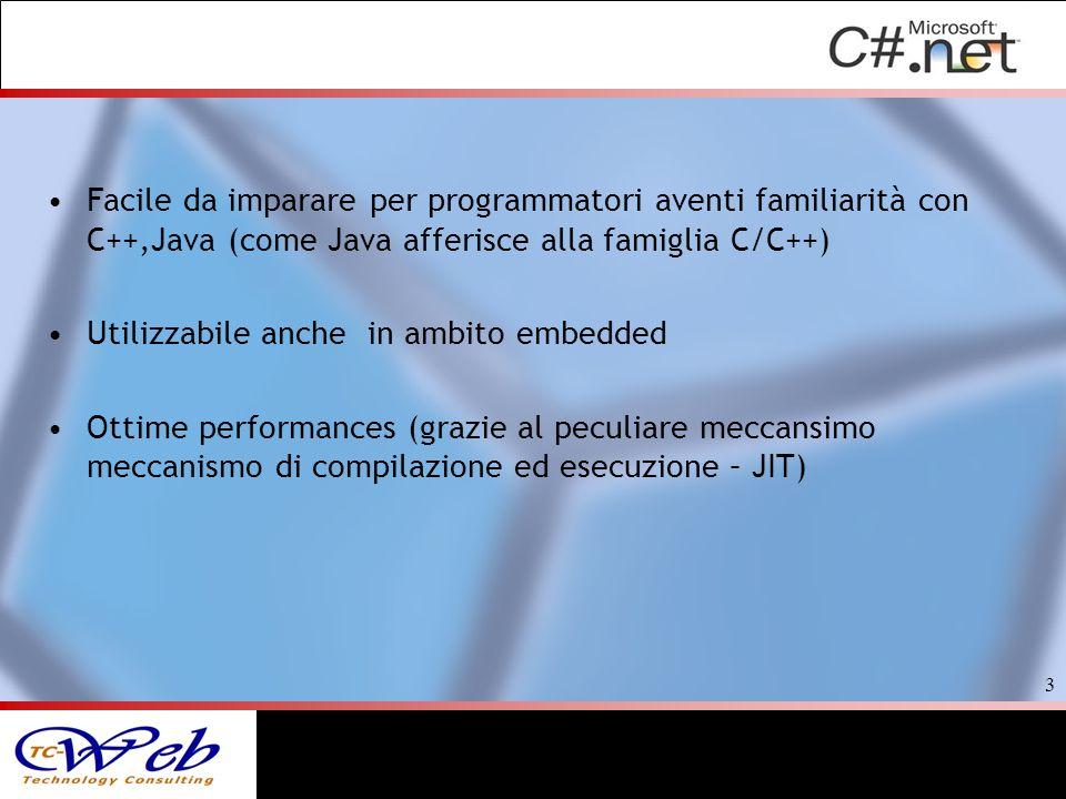 Facile da imparare per programmatori aventi familiarità con C++,Java (come Java afferisce alla famiglia C/C++) Utilizzabile anche in ambito embedded O