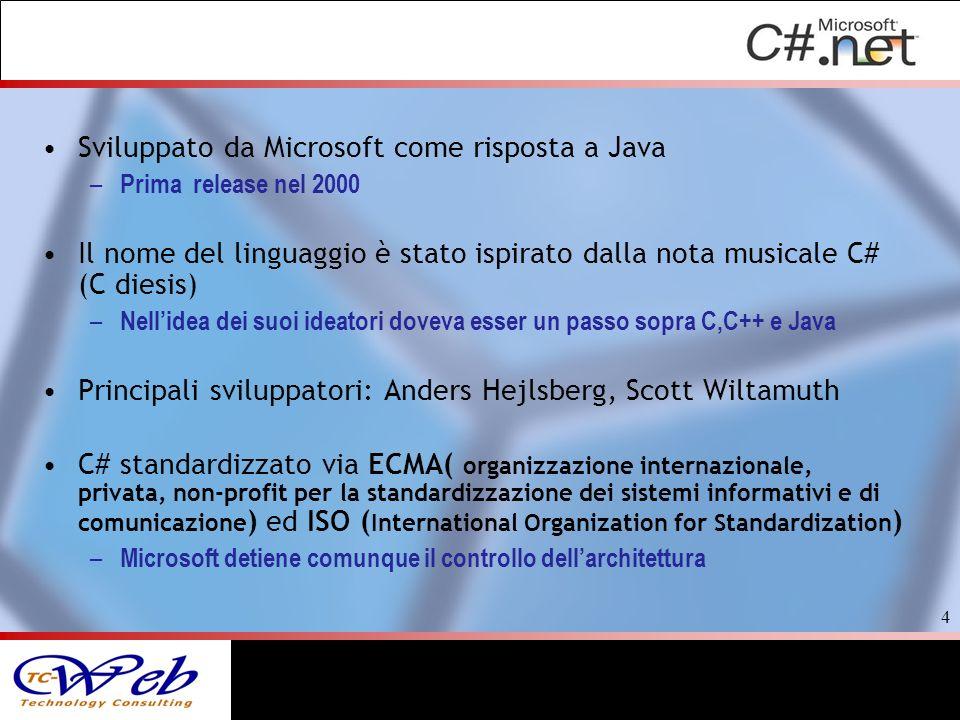 Sviluppato da Microsoft come risposta a Java – Prima release nel 2000 Il nome del linguaggio è stato ispirato dalla nota musicale C# (C diesis) – Nell