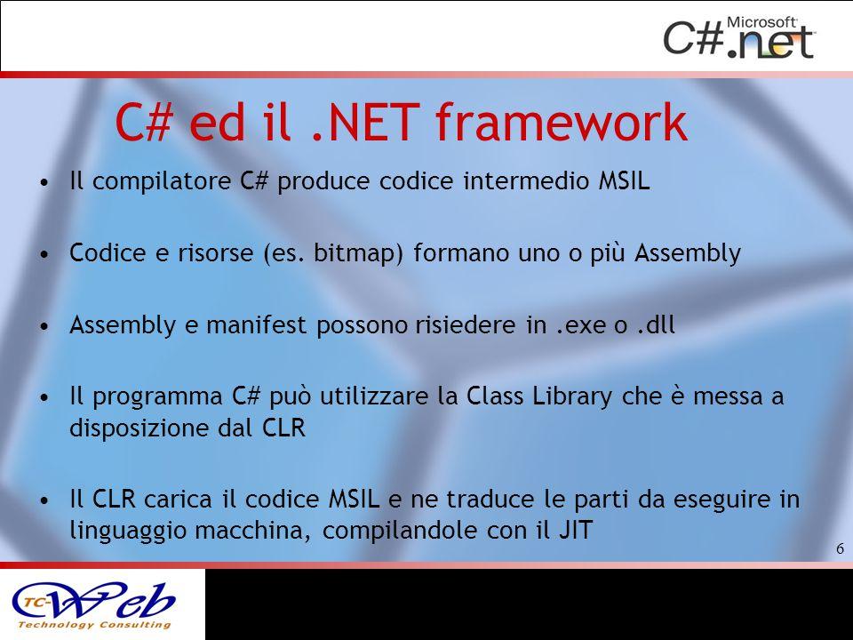 C# ed il.NET framework Il compilatore C# produce codice intermedio MSIL Codice e risorse (es. bitmap) formano uno o più Assembly Assembly e manifest p