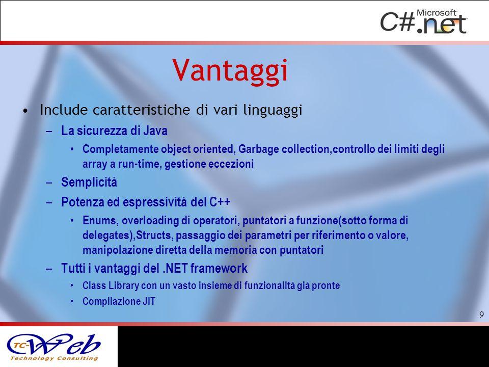 Vantaggi Include caratteristiche di vari linguaggi – La sicurezza di Java Completamente object oriented, Garbage collection,controllo dei limiti degli