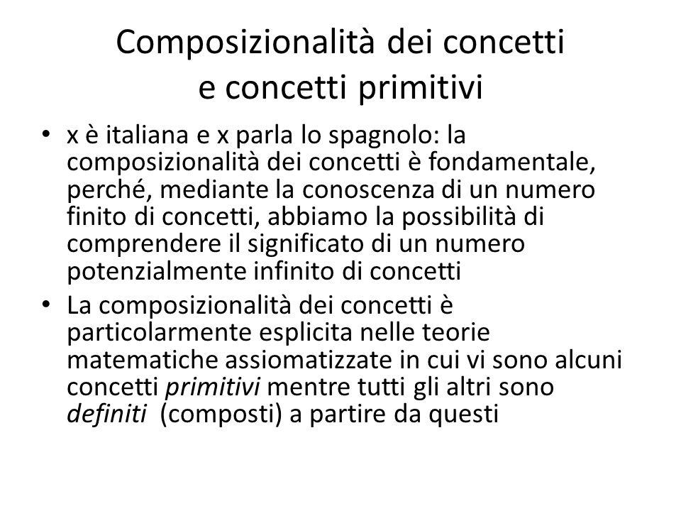 Composizionalità dei concetti e concetti primitivi x è italiana e x parla lo spagnolo: la composizionalità dei concetti è fondamentale, perché, median