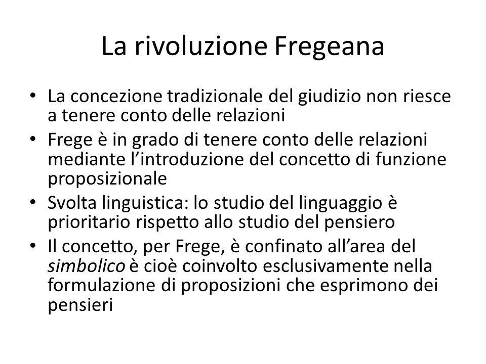 La rivoluzione Fregeana La concezione tradizionale del giudizio non riesce a tenere conto delle relazioni Frege è in grado di tenere conto delle relaz