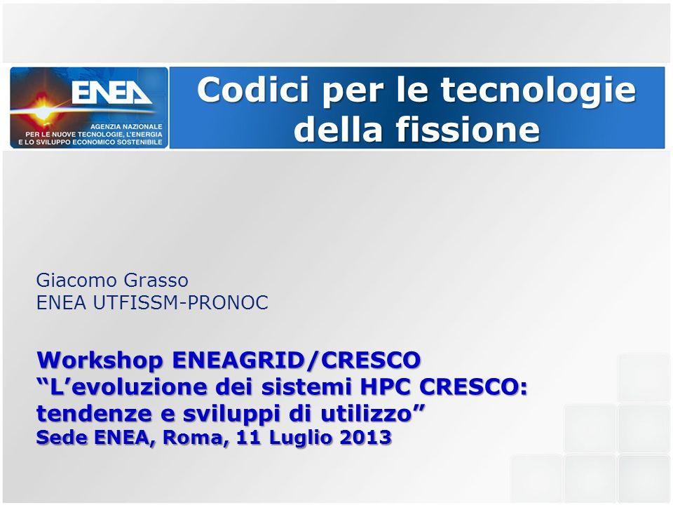 Codici per le tecnologie della fissione Giacomo Grasso ENEA UTFISSM-PRONOC Workshop ENEAGRID/CRESCO Levoluzione dei sistemi HPC CRESCO: tendenze e sviluppi di utilizzo Sede ENEA, Roma, 11 Luglio 2013