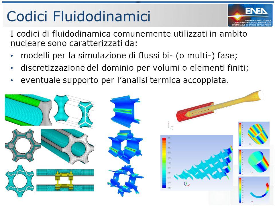 Codici Fluidodinamici I codici di fluidodinamica comunemente utilizzati in ambito nucleare sono caratterizzati da: modelli per la simulazione di flussi bi- (o multi-) fase; discretizzazione del dominio per volumi o elementi finiti; eventuale supporto per lanalisi termica accoppiata.