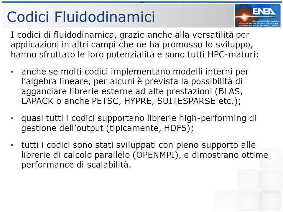 Codici Fluidodinamici I codici di fluidodinamica, grazie anche alla versatilità per applicazioni in altri campi che ne ha promosso lo sviluppo, hanno sfruttato le loro potenzialità e sono tutti HPC-maturi: anche se molti codici implementano modelli interni per lalgebra lineare, per alcuni è prevista la possibilità di agganciare librerie esterne ad alte prestazioni (BLAS, LAPACK o anche PETSC, HYPRE, SUITESPARSE etc.); quasi tutti i codici supportano librerie high-performing di gestione delloutput (tipicamente, HDF5); tutti i codici sono stati sviluppati con pieno supporto alle librerie di calcolo parallelo (OPENMPI), e dimostrano ottime performance di scalabilità.
