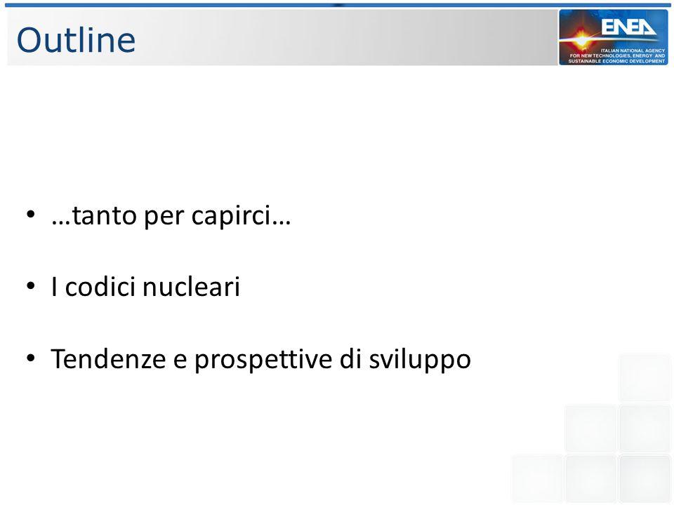 Outline …tanto per capirci… I codici nucleari Tendenze e prospettive di sviluppo