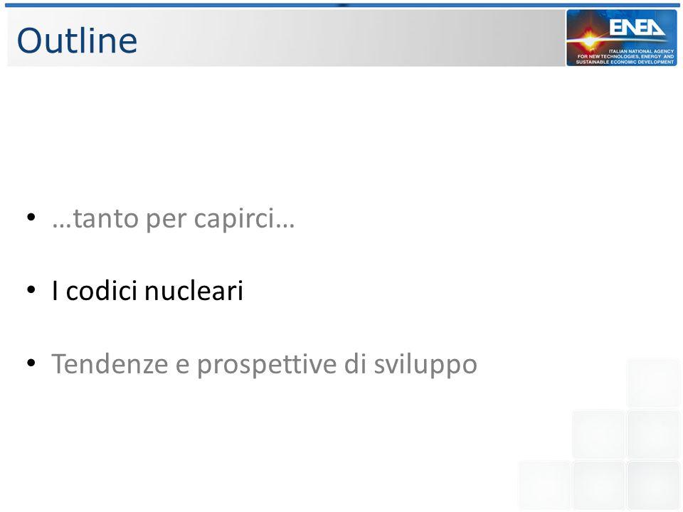 I codici nucleari Tra tutti i codici nucleari per la simulazione delle svariate fenomenologie elencate in precedenza, focalizzeremo lo studio su quelli: NEUTRONICI; tra i principali, quelli disponibili sono FLUIDODINAMICI; tra i principali, quelli disponibili sono DI SISTEMA; tra i principali, quelli disponibili sono CATHARE RELAP SIMMER MCNP/MCNPX ERANOS APOLLO+CRONOS NEPTUNE_CFD TRIO_U OPENFOAM ANSYS FLUENT FEM-LCORE
