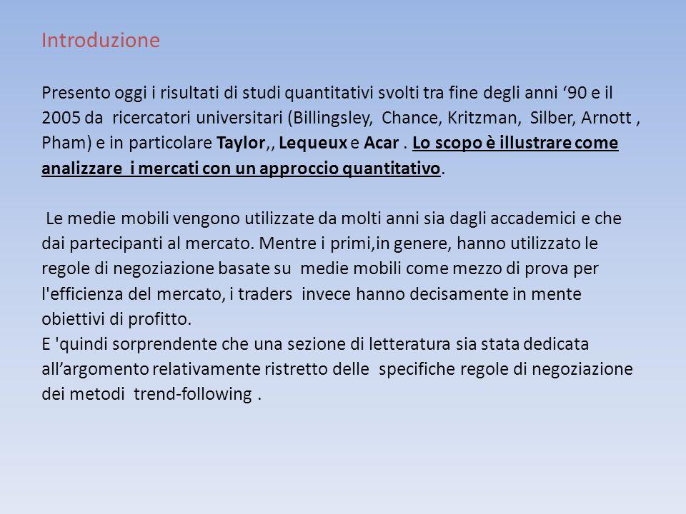 Introduzione Presento oggi i risultati di studi quantitativi svolti tra fine degli anni 90 e il 2005 da ricercatori universitari (Billingsley, Chance,