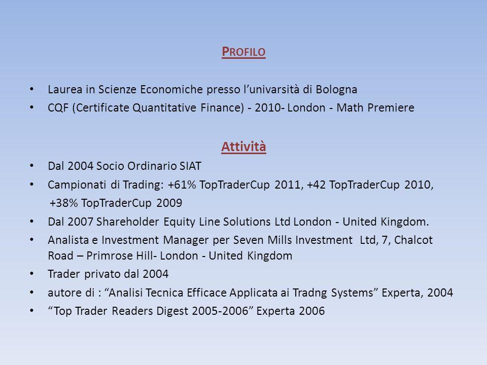P ROFILO Laurea in Scienze Economiche presso lunivarsità di Bologna CQF (Certificate Quantitative Finance) - 2010- London - Math Premiere Attività Dal