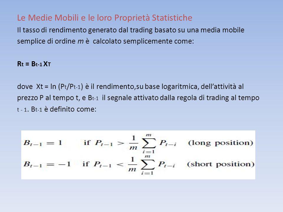 Le Medie Mobili e le loro Proprietà Statistiche Il tasso di rendimento generato dal trading basato su una media mobile semplice di ordine m è calcolat