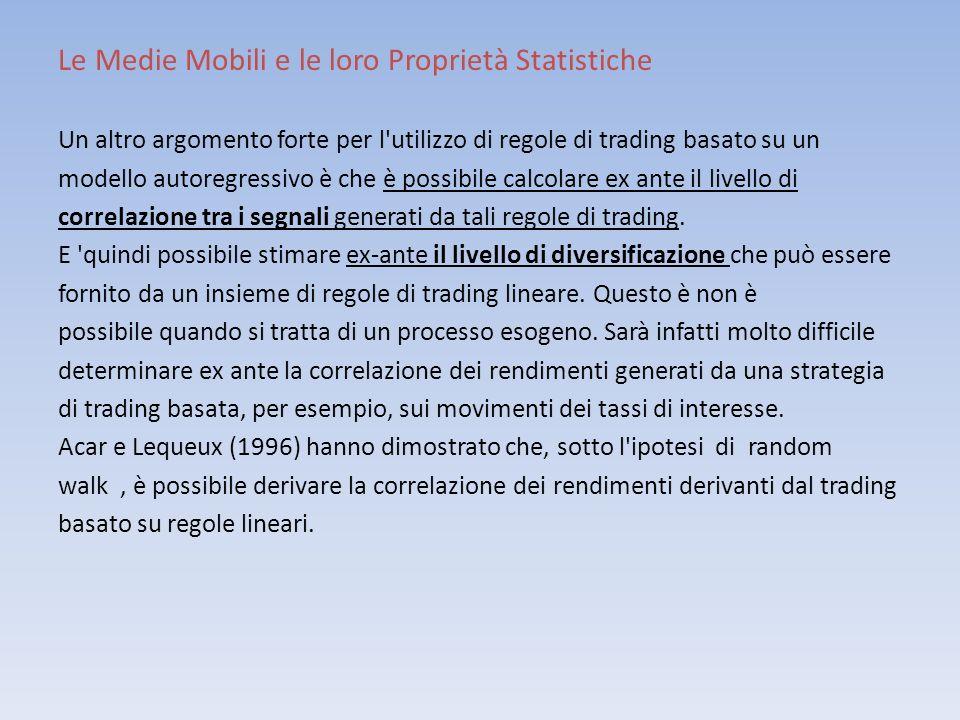 Le Medie Mobili e le loro Proprietà Statistiche Un altro argomento forte per l'utilizzo di regole di trading basato su un modello autoregressivo è che