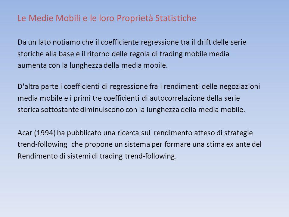 Le Medie Mobili e le loro Proprietà Statistiche Da un lato notiamo che il coefficiente regressione tra il drift delle serie storiche alla base e il ri