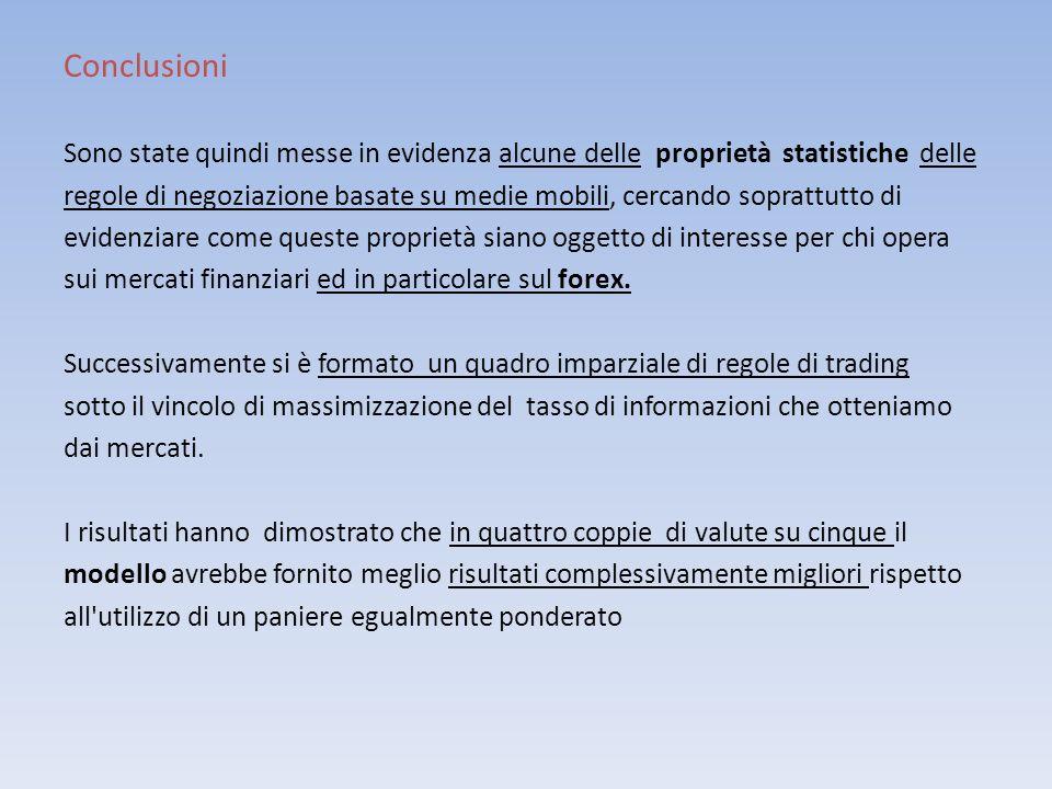 Conclusioni Sono state quindi messe in evidenza alcune delle proprietà statistiche delle regole di negoziazione basate su medie mobili, cercando sopra