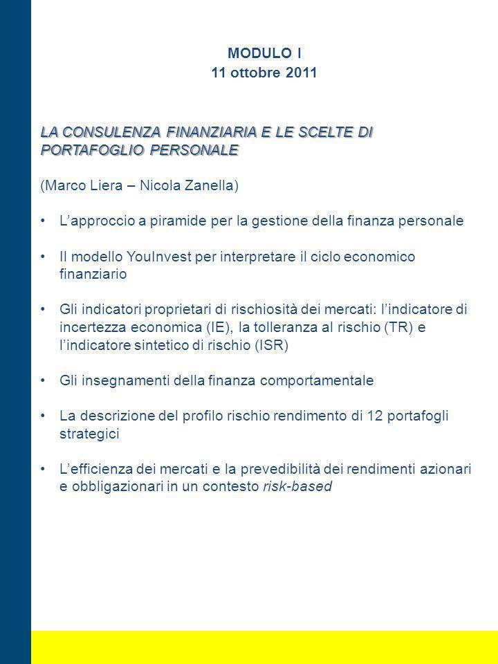 MODULO I 11 ottobre 2011 LA CONSULENZA FINANZIARIA E LE SCELTE DI PORTAFOGLIO PERSONALE (Marco Liera – Nicola Zanella) Lapproccio a piramide per la ge
