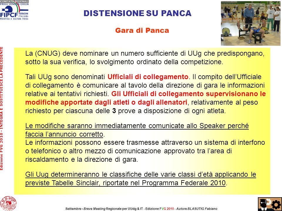 La (CNUG) deve nominare un numero sufficiente di UUg che predispongano, sotto la sua verifica, lo svolgimento ordinato della competizione.