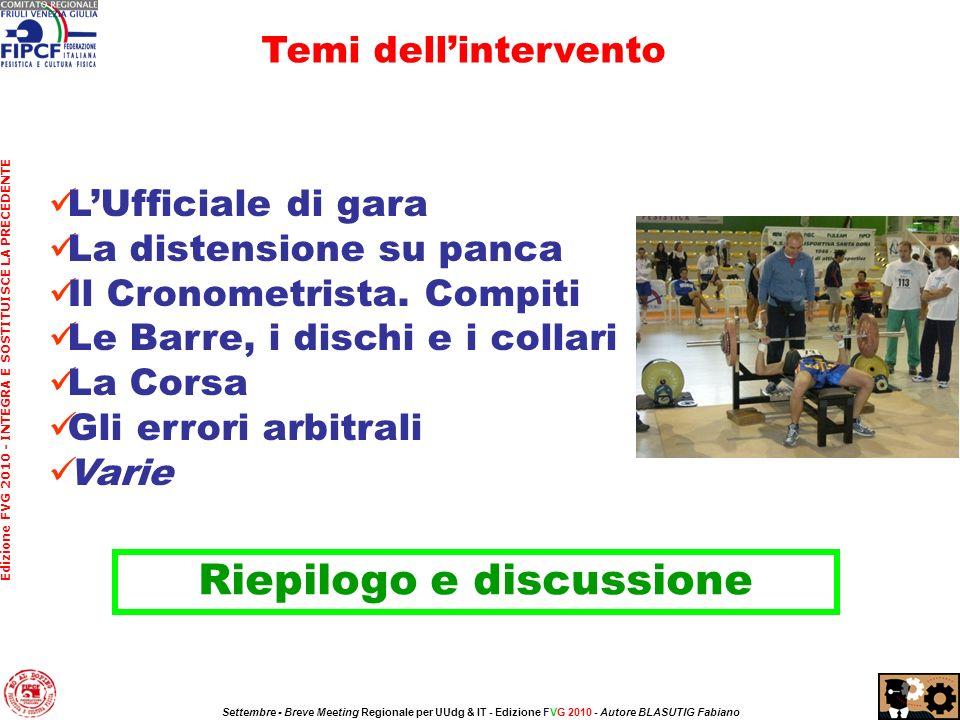 LUfficiale di gara La distensione su panca Il Cronometrista.