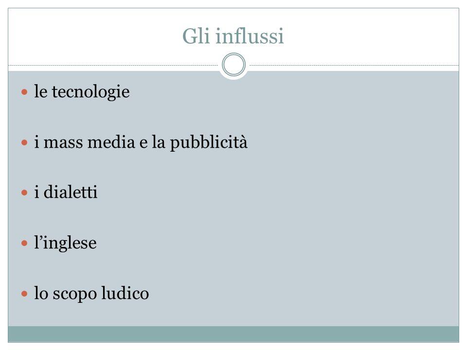 Gli influssi le tecnologie i mass media e la pubblicità i dialetti linglese lo scopo ludico