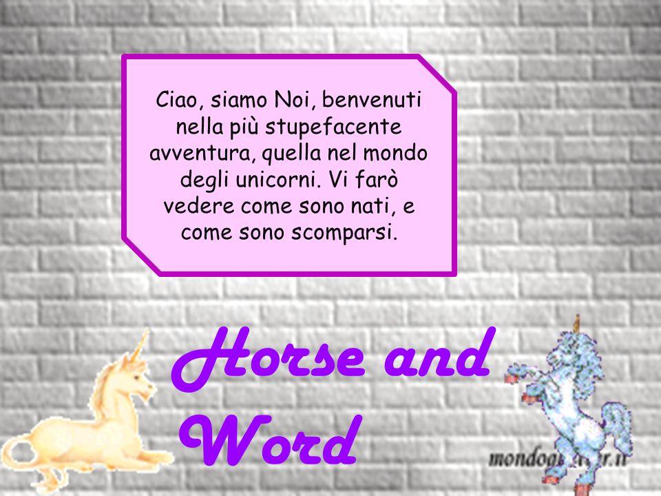 Horse and Word Ciao, siamo Noi, benvenuti nella più stupefacente avventura, quella nel mondo degli unicorni.
