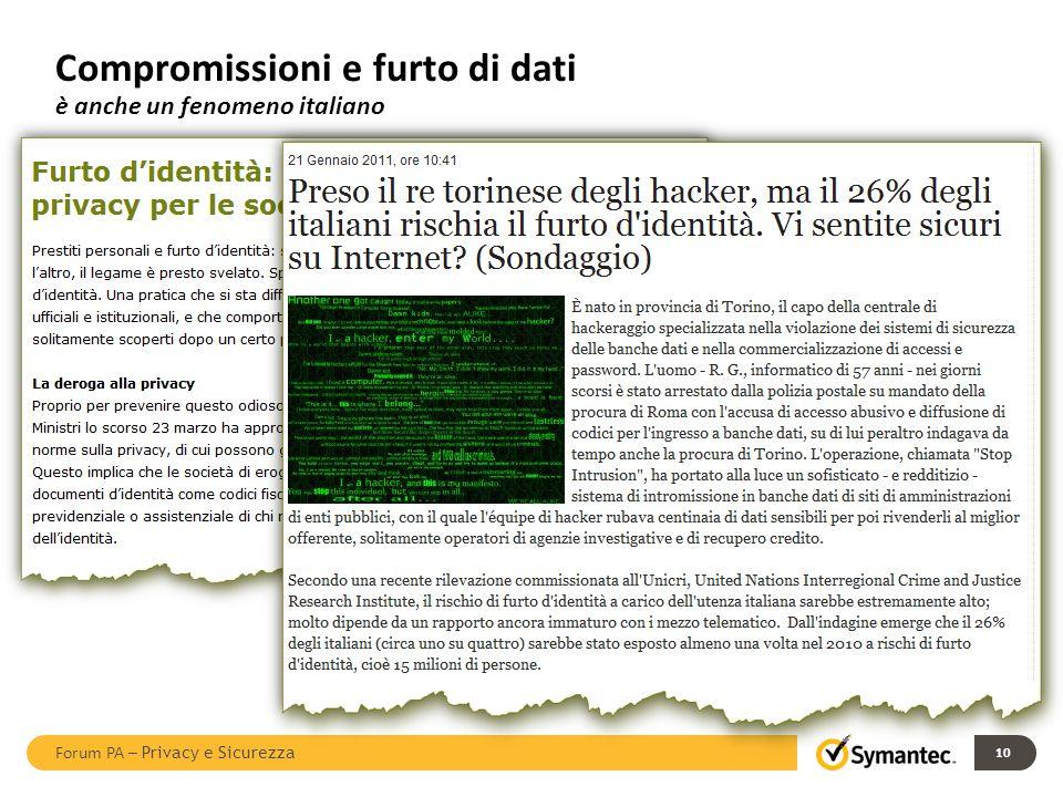 Compromissioni e furto di dati è anche un fenomeno italiano 10 Forum PA – Privacy e Sicurezza