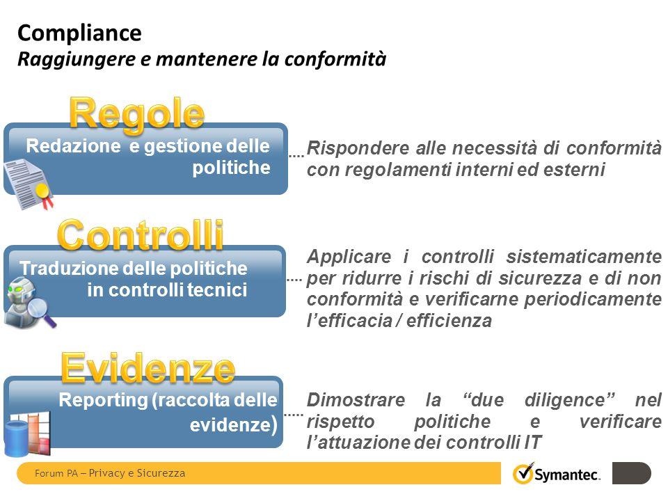 Compliance Raggiungere e mantenere la conformità 22 Rispondere alle necessità di conformità con regolamenti interni ed esterni Redazione e gestione de