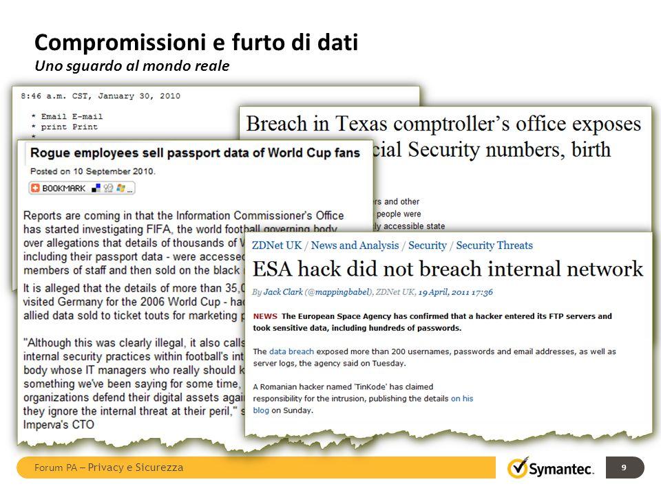 9 Compromissioni e furto di dati Uno sguardo al mondo reale Forum PA – Privacy e Sicurezza
