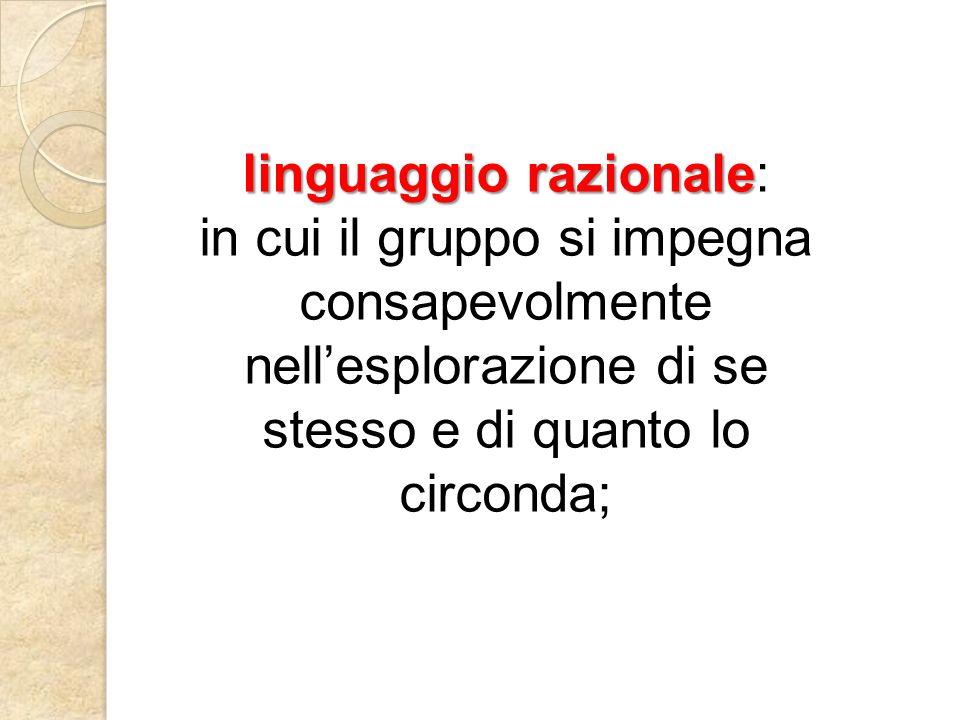 linguaggio razionale linguaggio razionale: in cui il gruppo si impegna consapevolmente nellesplorazione di se stesso e di quanto lo circonda;