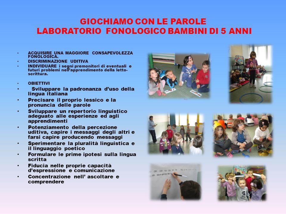 GIOCHIAMO CON LE PAROLE LABORATORIO FONOLOGICO BAMBINI DI 5 ANNI ACQUISIRE UNA MAGGIORE CONSAPEVOLEZZA FONOLOGICA. DISCRIMINAZIONE UDITIVA INDIVIDUARE